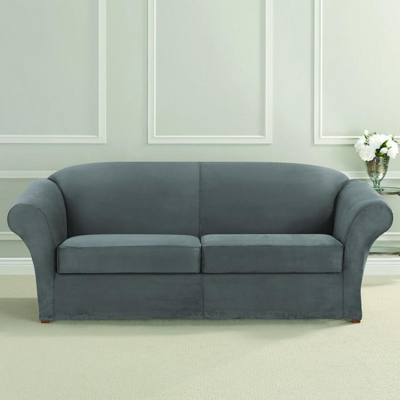 Ultimate Heavyweight Stretch Faux Suede 2 Separate Box Cushioned Sofa Slipcover