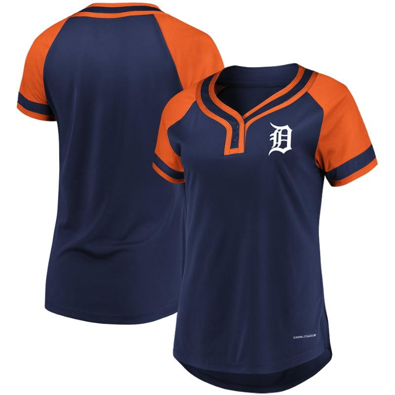 Detroit Tigers Majestic Women's Plus Size League Cool Base T-Shirt Navy Orange by Profile