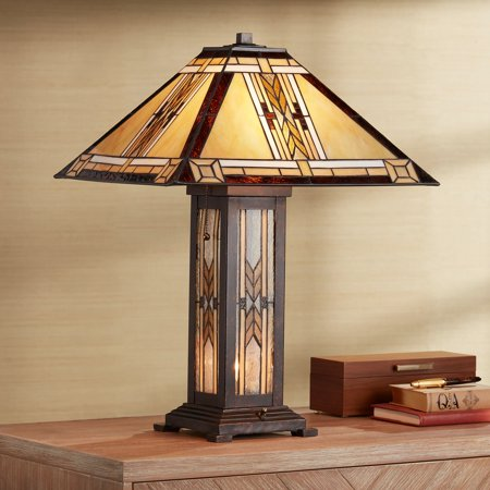 - Franklin Iron Works Tiffany Style Table Lamp with Nightlight Mission Bronze Stained Glass for Living Room Family Bedroom Bedside