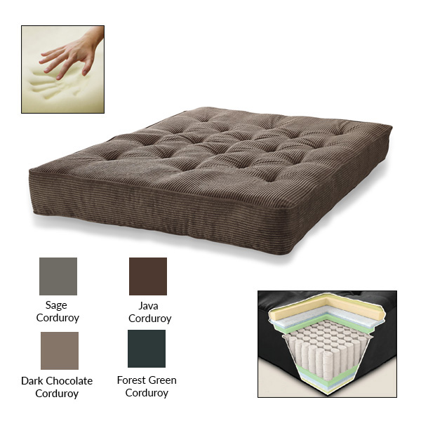 "S2G 8"" Pocketed Coil Visco Corduroy Futon Mattress, Multiple Colors"