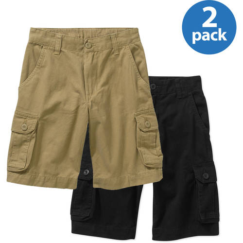Faded Glory Boys' Solid Cargo Shorts - 2 Pack Value Bundle