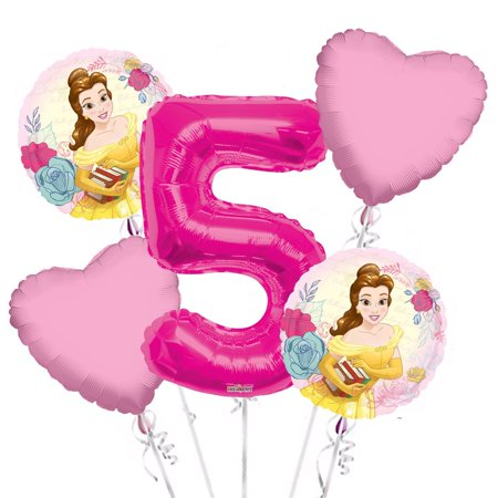 Beauty and the Beast Balloon Bouquet 5th Birthday 5 pcs - Party Supplies Pink, 1 Giant Number 5 Balloon, 34in By Viva Party - Beauty And The Beast Birthday Party Decorations