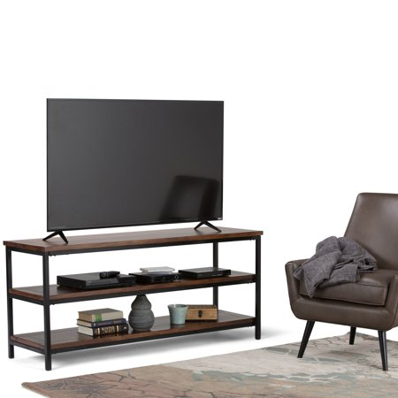 WyndenHall  Rhonda Solid Mango Wood 60 inch wide Modern Industrial TV Media Stand in Dark Cognac Brown For TVs up to 65 inches