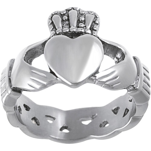 Daxx Men's Stainless Steel Celtic Claddagh Ring