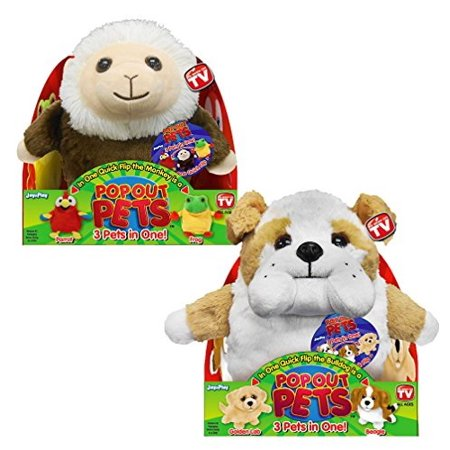 - Pop Out Pets: Get 3 Stuffed Animals in One - Parrot, Frog & Monkey and Bulldog, Golden Labrador & Beagle