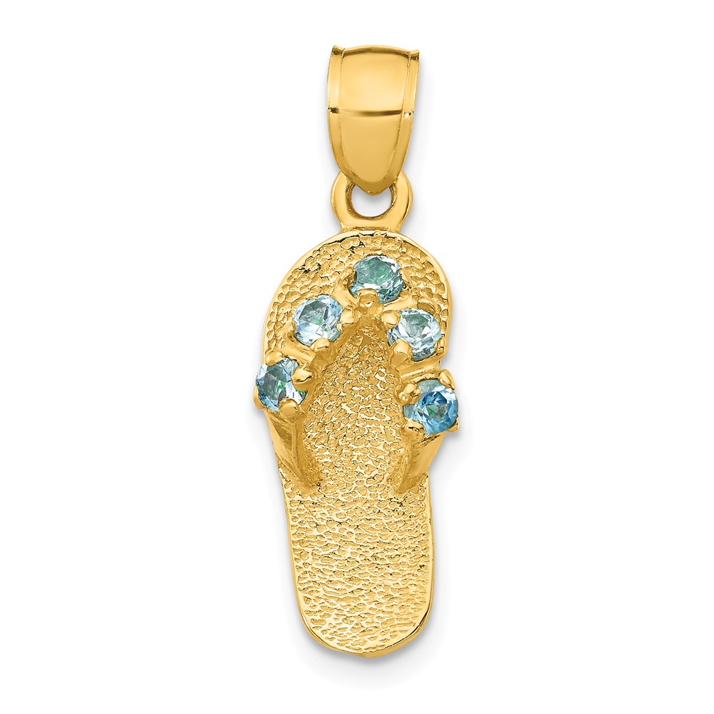 14k Yellow Gold December/CZ Synthetic Birthstone Flip Flop Pendant
