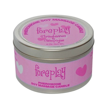 - Foreplay Pheromone Soy Massage Candle - Strawberry & Champagne - 4 Oz