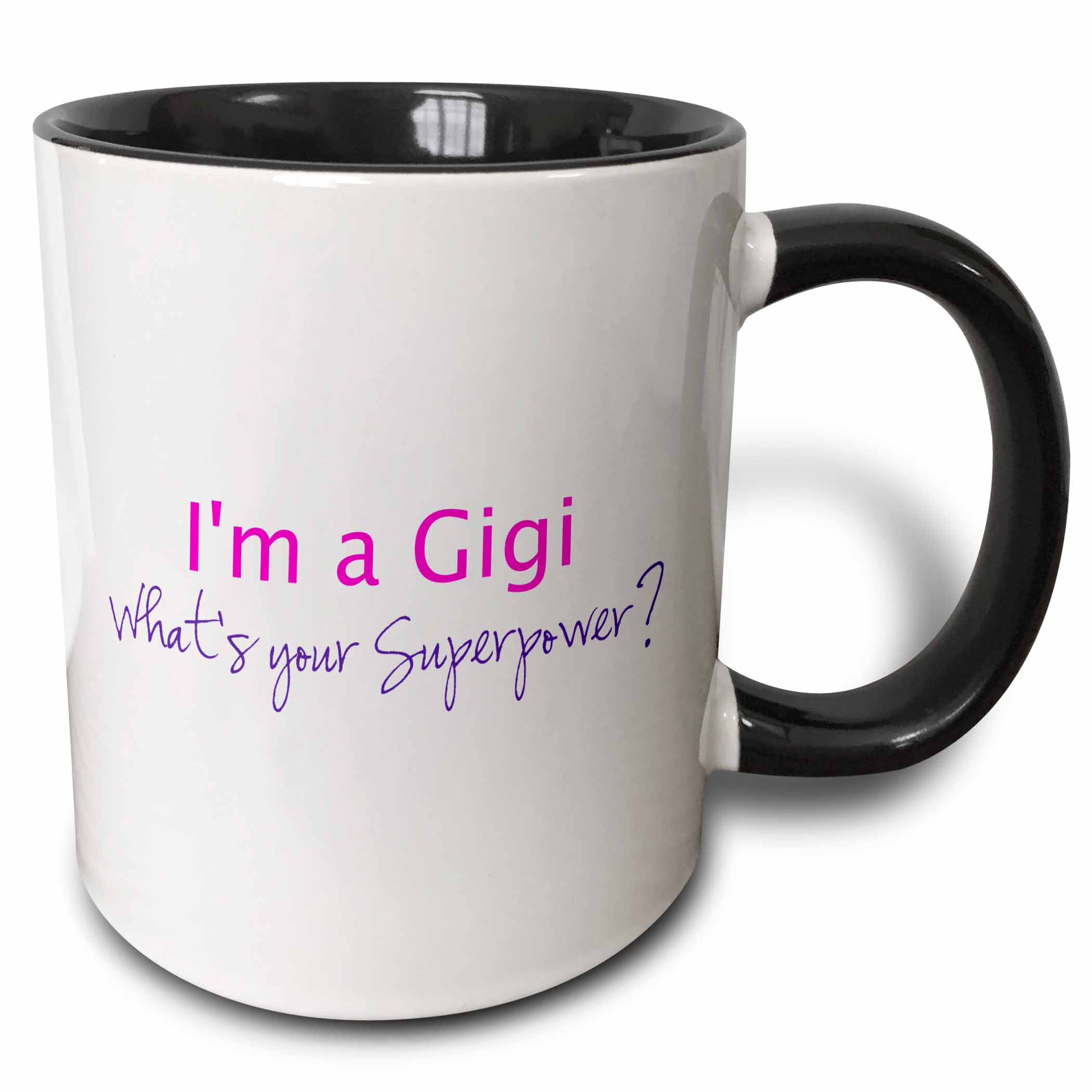 3dRose Im a Gigi - Whats your Superpower - hot pink - funny gift for grandma, Two Tone Black Mug, 11oz