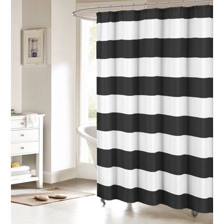 Black and White Fabric Shower Curtain: Nautical Stripe Design ()