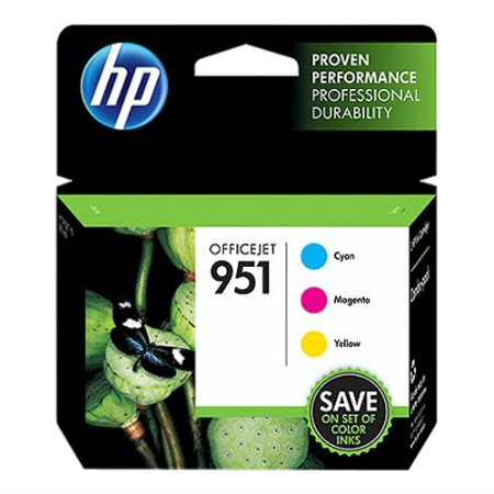 HP 951 Cyan, Magenta, & Yellow Original Ink Cartridges, 3 Cartridges (CR314FN)
