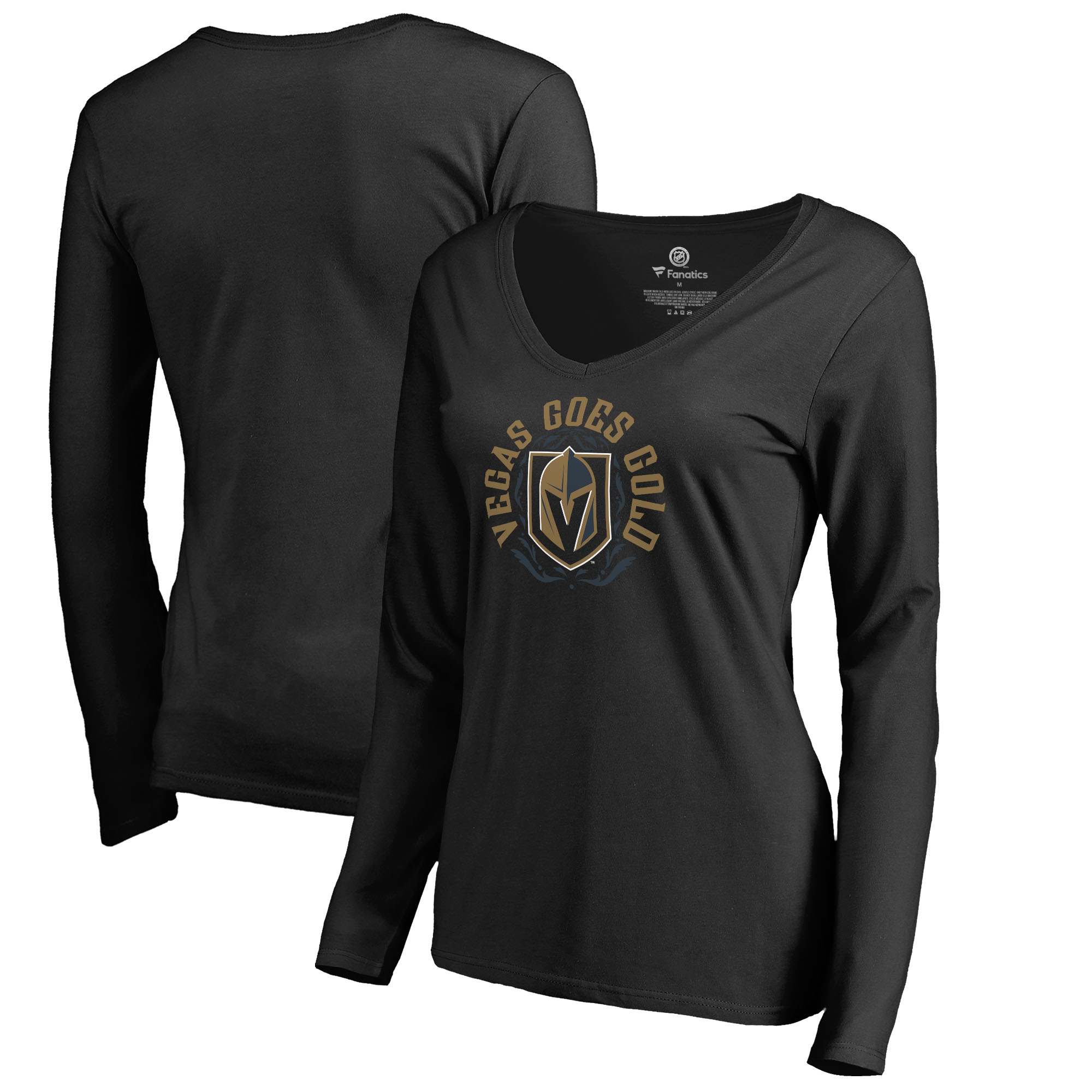 Vegas Golden Knights Fanatics Branded Women's Hometown Collection Vegas Goes Gold V-Neck Long Sleeve T-Shirt Black by Football Fanatics/Ruppshirts