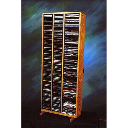 The Wood Shed Solid Oak 160 CD and 64 DVD Media Tower with Individual Locking Slots