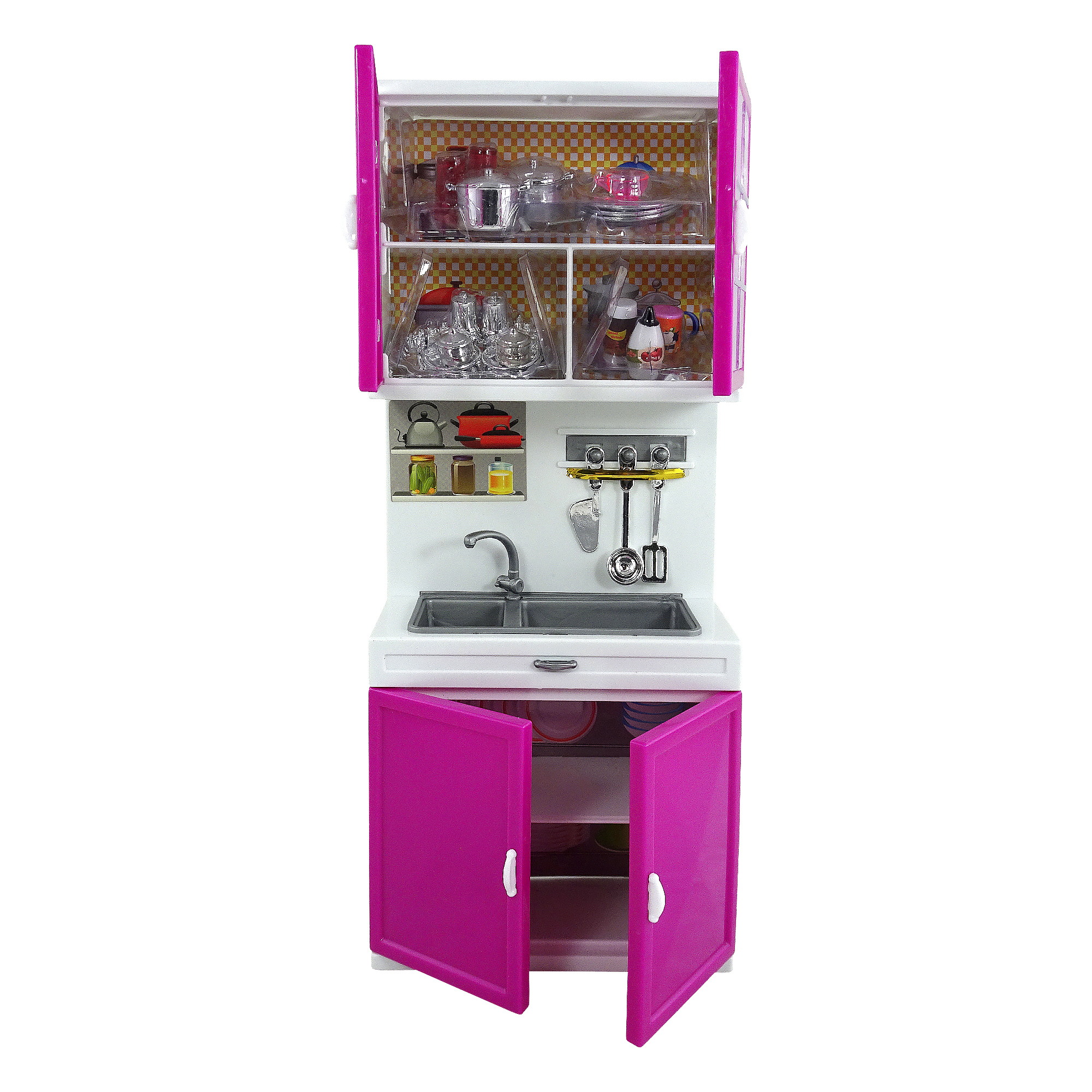 Toy Kitchen Play Set Sink And Cabinet Shelf Doll House Size Battery Operated With Lights And Sounds