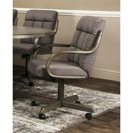 Caster Chair Company Garrett Swivel Tilt Caster Arm Chair in Smoke Tweed - Tilt Chair Polyester Fabric