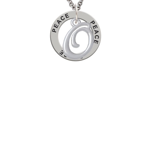Small Gelato Script Initial - O - Peace Affirmation Ring Necklace