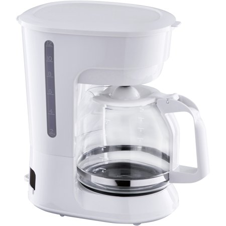Mainstays 12 Cup White Coffee Maker with Removable Filter (White Handle Coffee Pot)