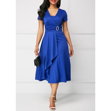 Asymmetric Hem V Neck High Waist Midi Dress Banded Waist V-neck Dress