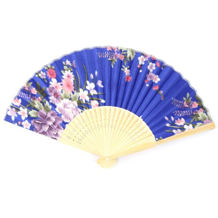 Bamboo Frame Flower Print Chinese Style Artistic Hand Fan Royal Blue Beige