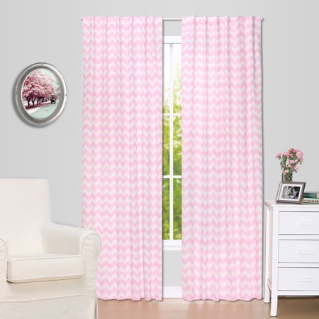 The Peanut Shell Blackout Drapery Panels - Pink Zig Zag Chevron Print - Two 84 by 42 Inch Panels, 100% Cotton Sateen for $<!---->