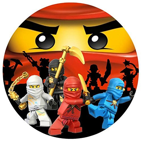 """Ninjago Round Lego Ninja Edible Frosting Image Photo Cake Frosting Icing Topper Sheet Birthday Party - 8"""" Round -"""