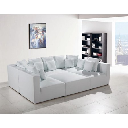 Modern White Bonded Leather Sectional Modular Sofa Set VIG Divani Casa 206 ()