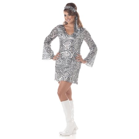 60's Disco Diva Dress Costume Adult Plus](Seventies Disco Costumes)