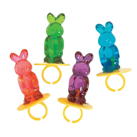 Fun Express - Bunny Ring Lollipops for Easter - Edibles - Sucker & Pop - Ring & Pacifier Suckers - Easter - 12 Pieces - Ring Pops