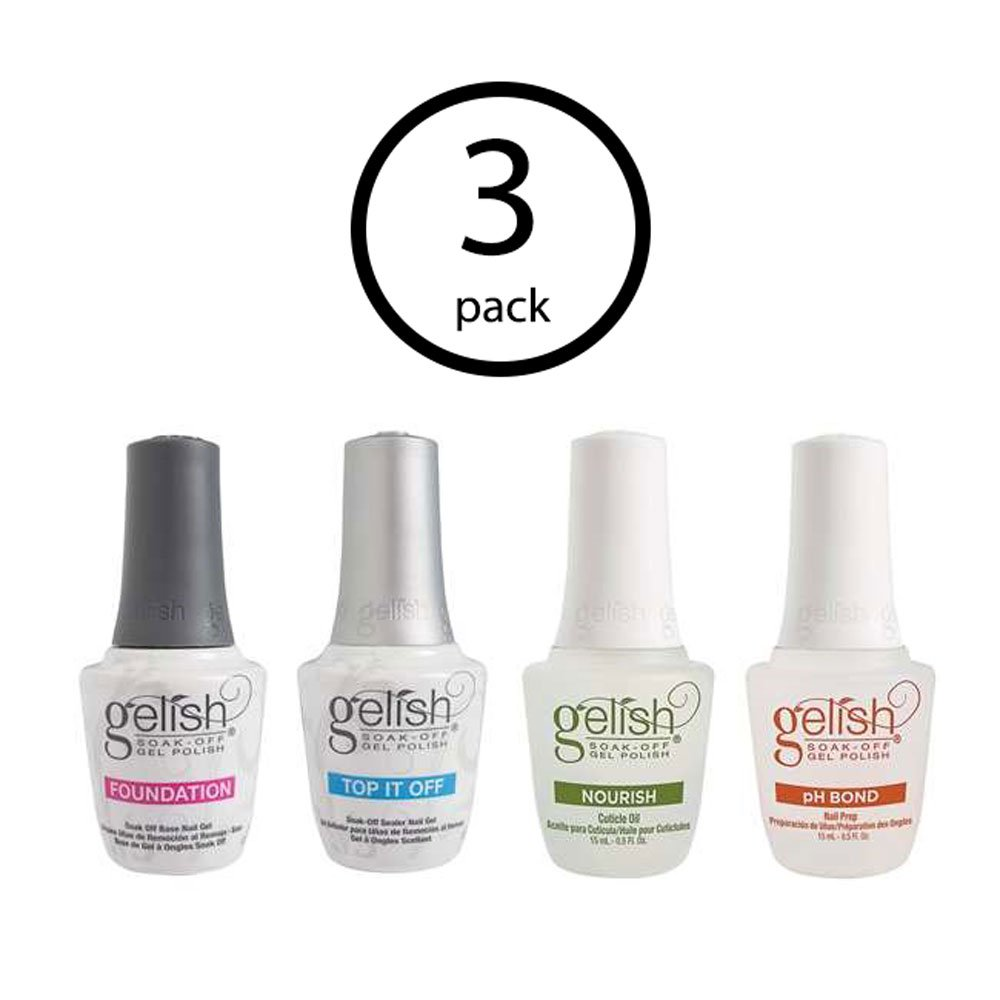 Gelish Fantastic Four Essentials Soak Off Gel Nail Polish Kit, 15 mL (3 Pack)