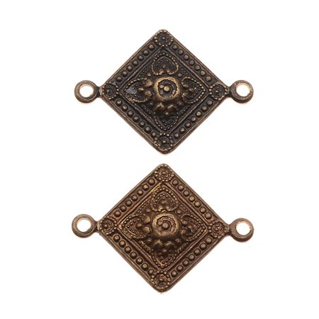 Brass 2 Hole - Vintaj Natural Brass Tiled Metalwork 2 Hole Connector Beads 21 x 15mm (2)