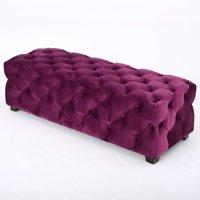 Provence Tufted Velvet Fabric Rectangle Ottoman Bench, Fuchsia