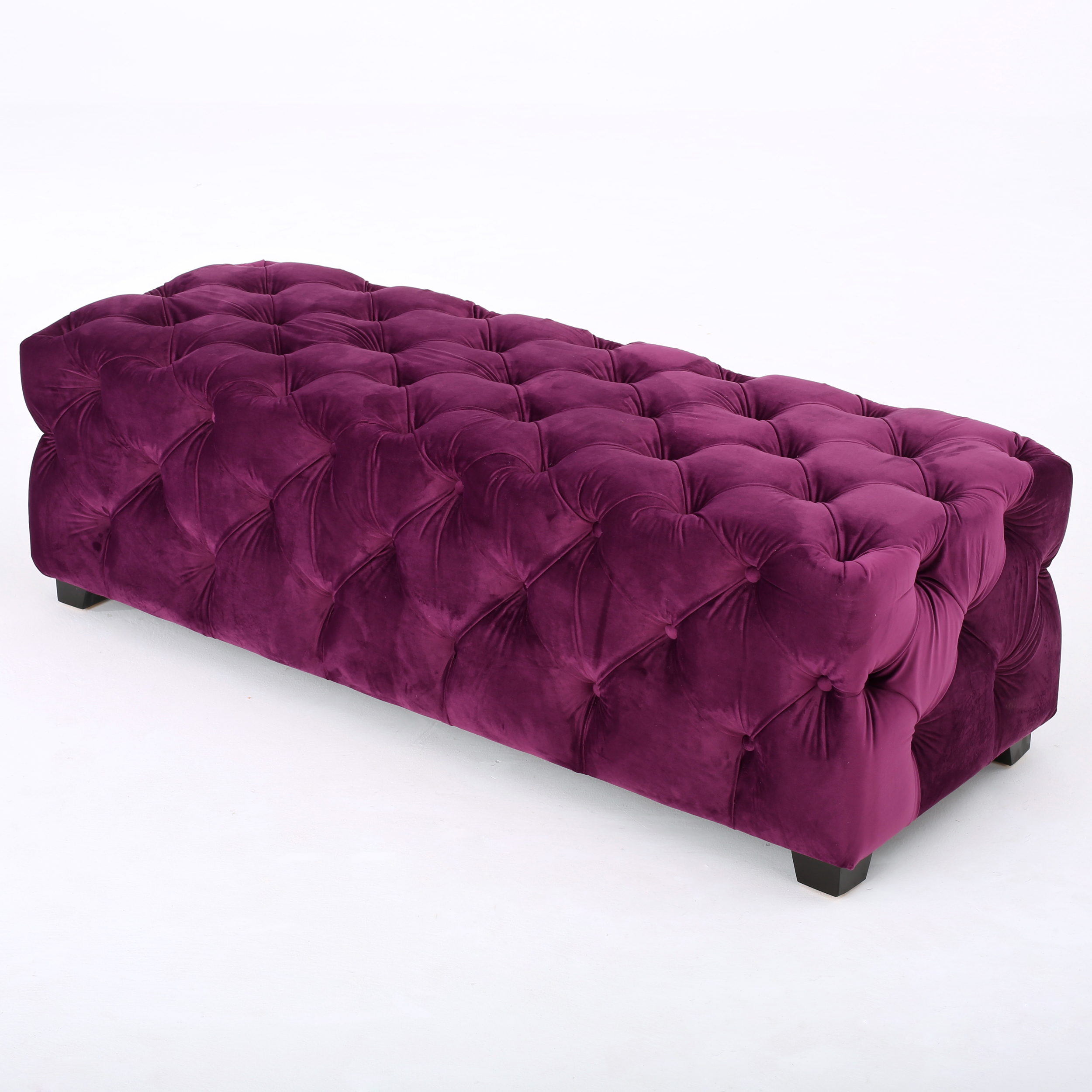 Provence Tufted Velvet Fabric Rectangle Ottoman Bench, Fuchsia