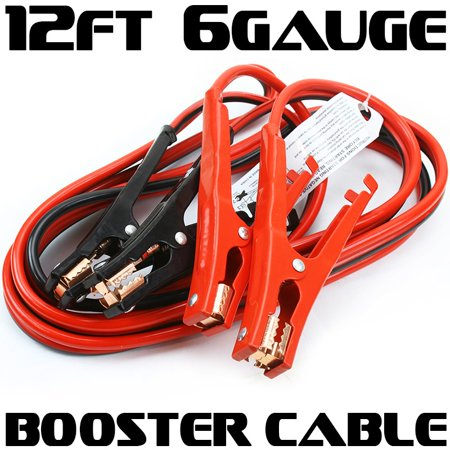 12FT 6 Gauge Power Jumper Cable Starter Booster Cable 500 AMP ...