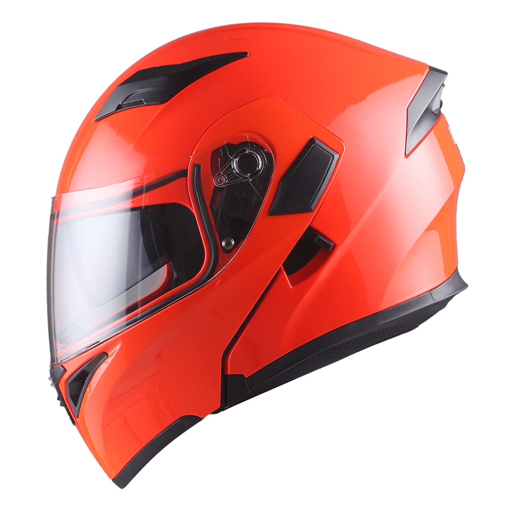 437526a8 1Storm Motorcycle Street Bike Modular Flip up Dual Visor Full Face Helmet  Glossy Orange HB89 - Walmart.com