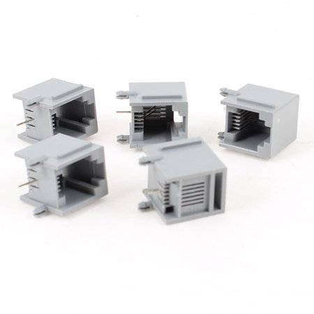 Unique Bargains 5pcs 90 Degree Push in RJ11 6P2C One Port Network PCB Jacks Socket Gray - image 1 of 1