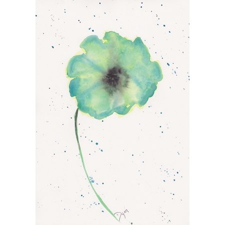 Blue Green Poppy 1 Poster Print by Beverly Dyer (10 x 14)