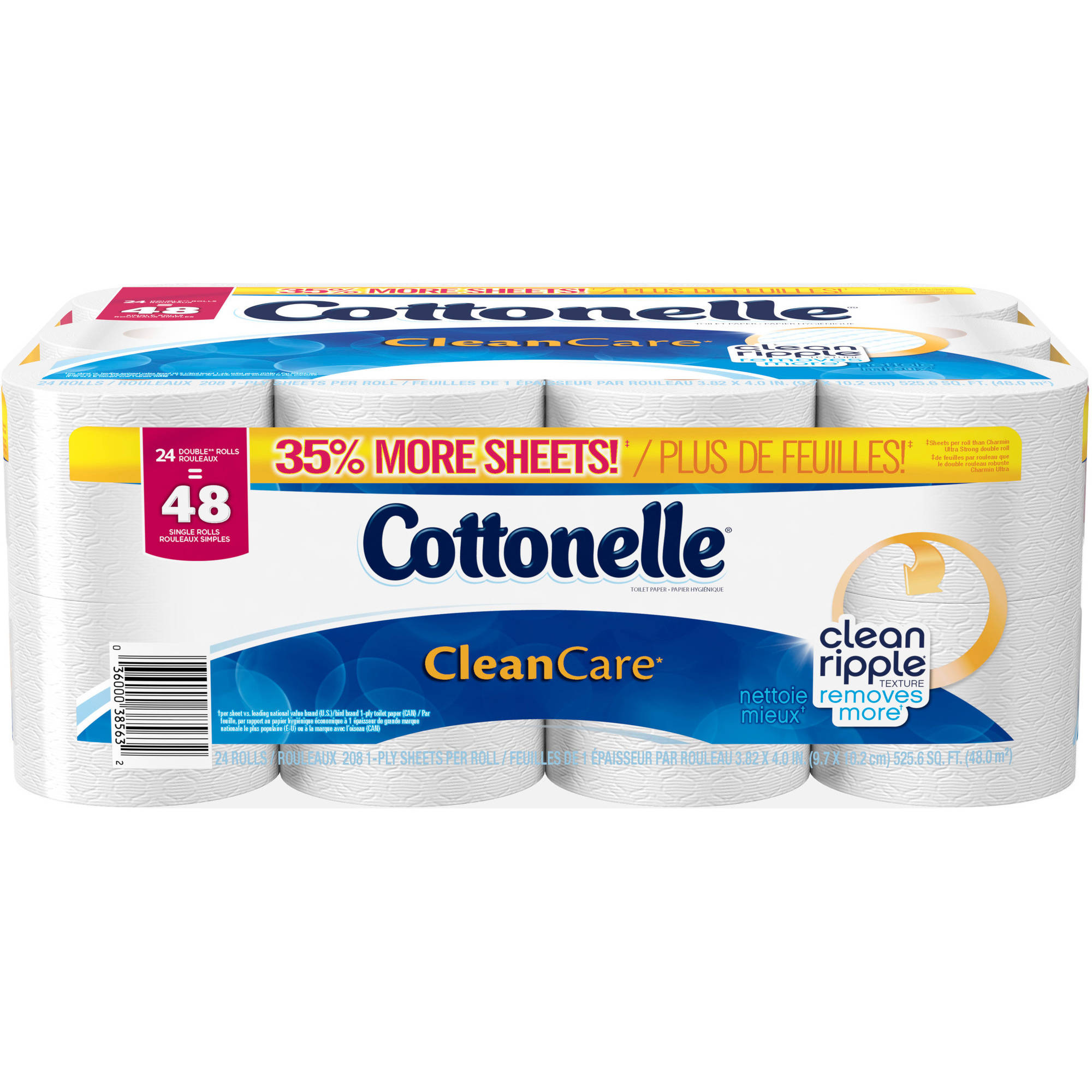 Cottonelle Clean Care, Bathroom Tissue Double Rolls, 208 Sheets, 24 Rolls
