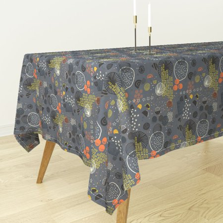 Tablecloth Mod Galaxy Modern Planets Sun Stars Celestial Moon Luna Cotton Sateen