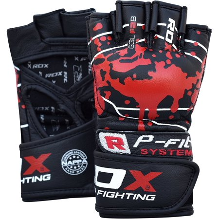 RDX MMA Gloves Grappling Martial Arts Punching Sparring Bag Cage Fighting Cow Hide Leather Mitts Combat -