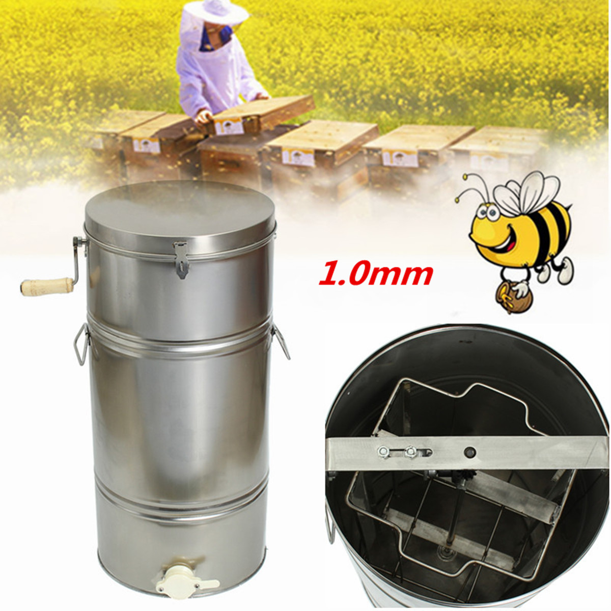 Thickness 0.1mm 2 Frame Bee Extractor Stainless Steel Bee Honey Extractor Honeycomb Drum Beekeeping