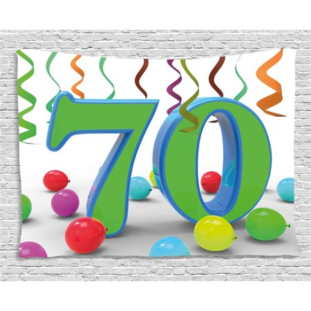 70th Birthday Decorations Tapestry, House Party Theme Colorful Balloons Curls Fun Image, Wall Hanging for Bedroom Living Room Dorm Decor, 60W X 40L Inches, Fern Green and Blue, by Ambesonne - 70th Decorations
