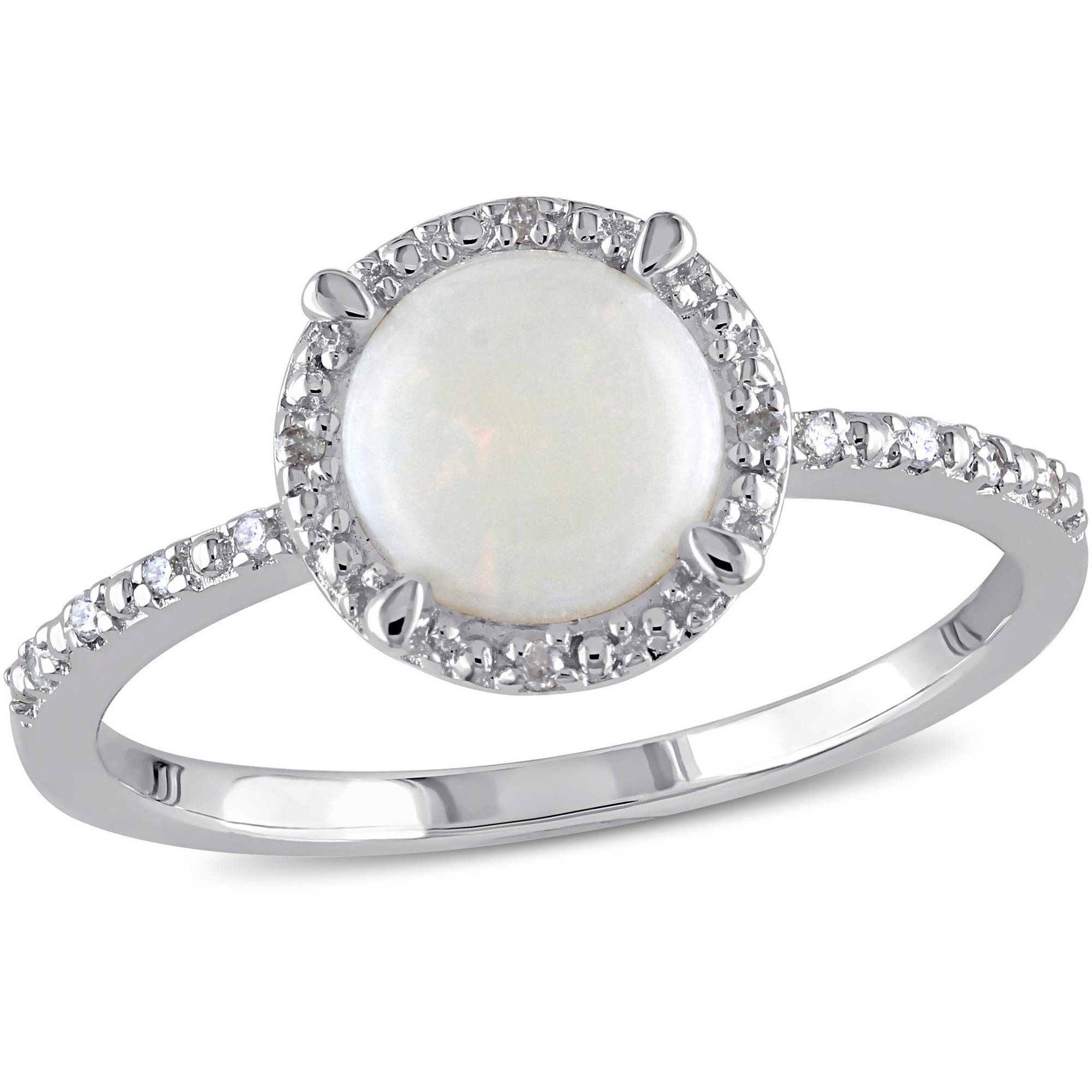 Miabella 1 Carat T.G.W. Opal and Diamond-Accent Sterling Silver Halo Ring by Delmar Manufacturing LLC