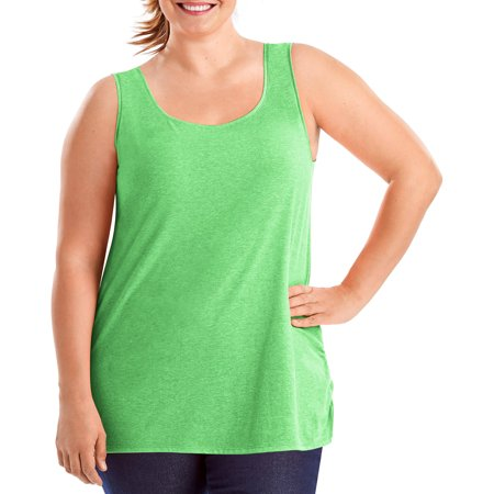Just My Size Womens Plus Size X Temp Shirred Tank
