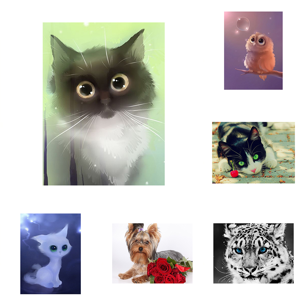 Girl12Queen DIY Resin Diamond Painting Kit Animal Embroidery Cross Stitch Home Wall Decor