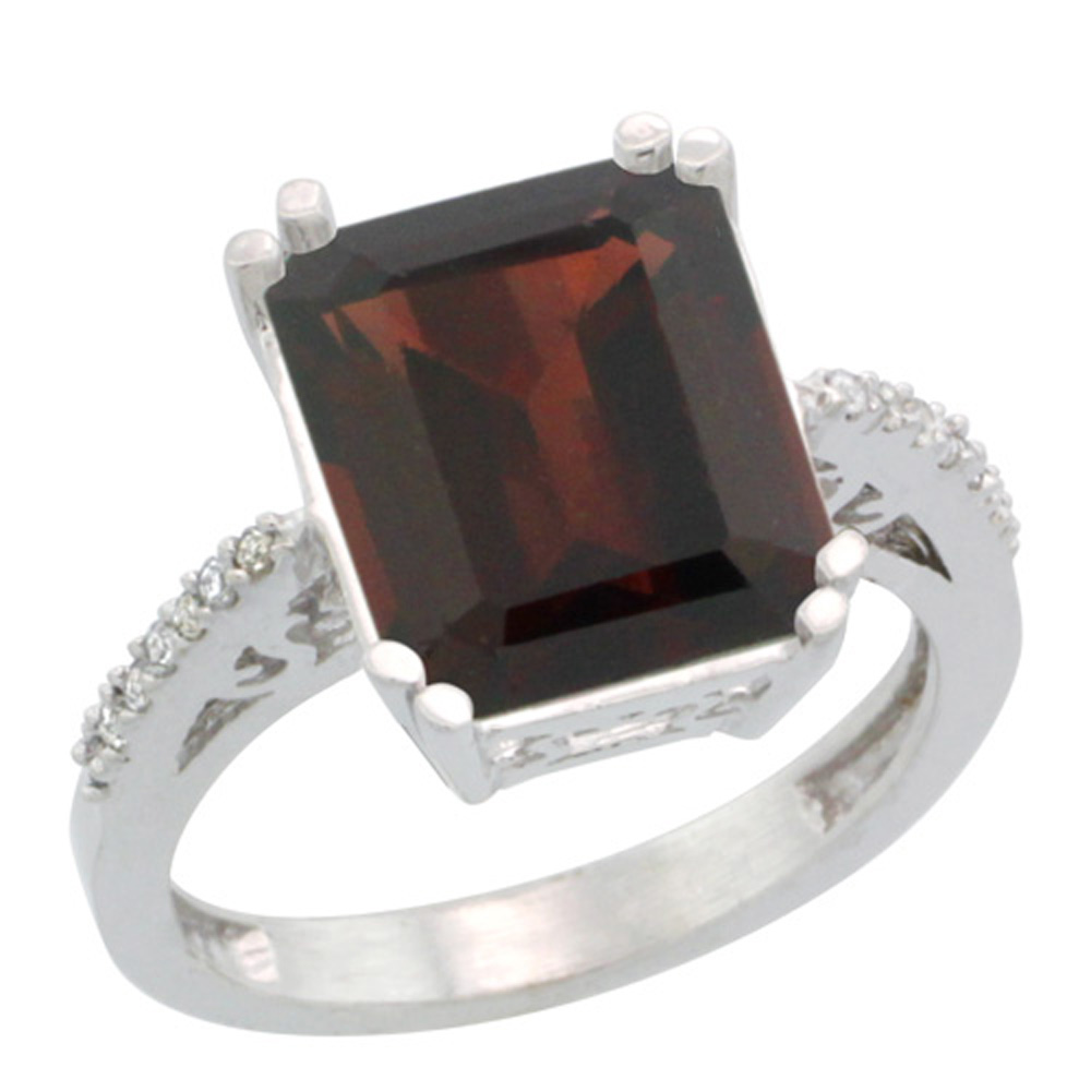 Sterling Silver Diamond Natural Garnet Ring Emerald-cut 12x10 mm, sizes 5-10 by WorldJewels