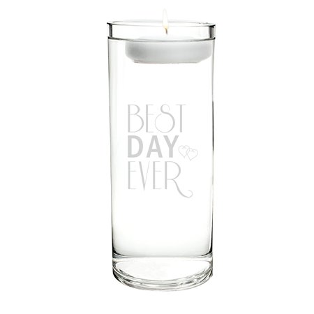 Best Day Ever Floating Unity Candle, Sold in a set of one (1) glass vase and one (1) wax floating candle By Cathy's