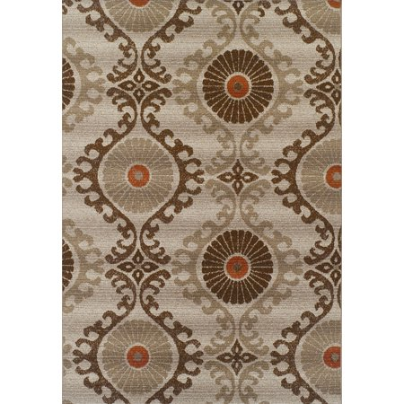 Dotted Vines (Dalyn St Croix Area Rugs - SX2 Contemporary Mocha Circles Vines Curves Dots Rug)