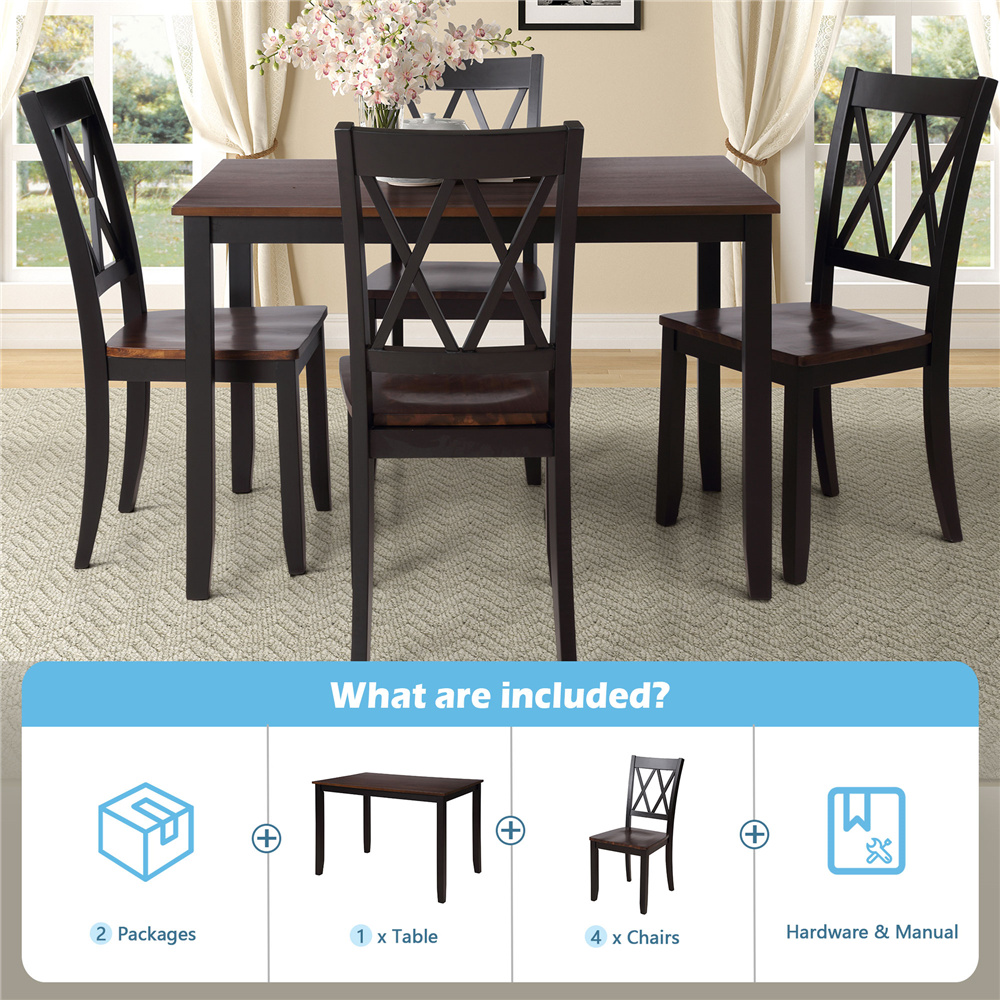 Black Dining Table Set for 9, Modern 9 Piece Dining Room Table Sets with  Chairs, Heavy Duty Wooden Rectangular Kitchen Table Set for Home, Kitchen,  ...
