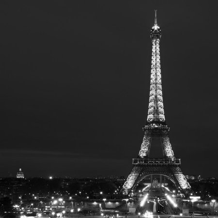 Cityscape Paris with Eiffel Tower at Night - Black and White Photography Print Wall Art By Philippe Hugonnard