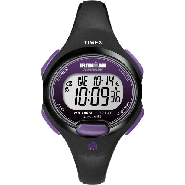 Timex Women's Ironman Essential 10 Mid-Size Black/Purple Resin Strap Watch