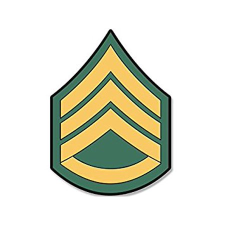 US Army Rank STAFF SERGEANT Chevron Shaped Sticker Decal (ssi military) Size: 4 x 4 (Army Chevron)